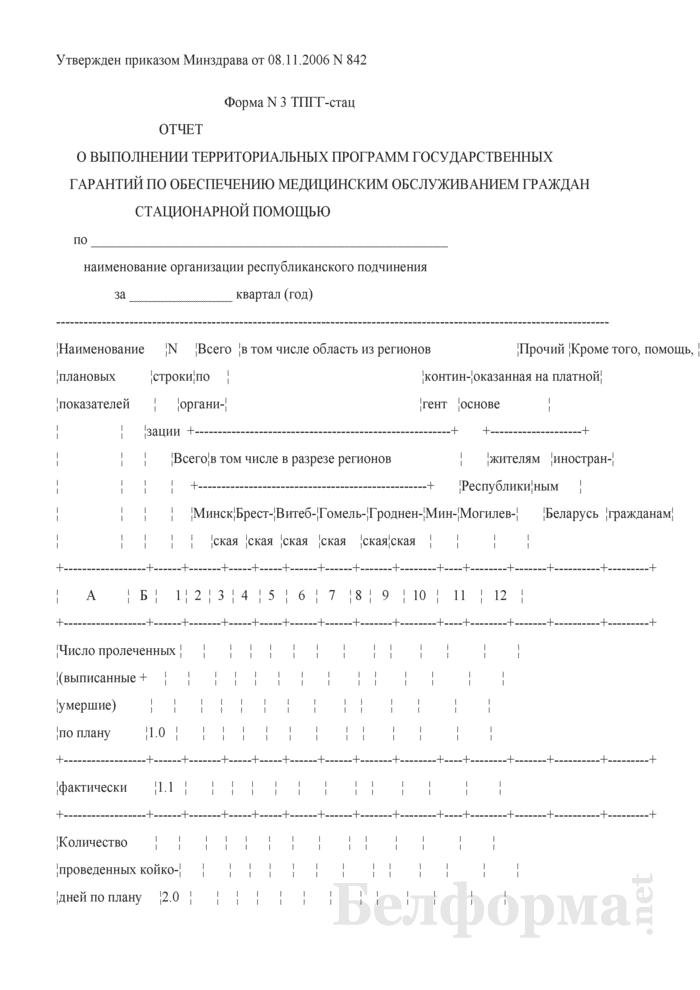 Отчет о выполнении территориальных программ государственных гарантий по обеспечению медицинским обслуживанием граждан стационарной помощью. Форма № 3 ТПГГ-стац. Страница 1