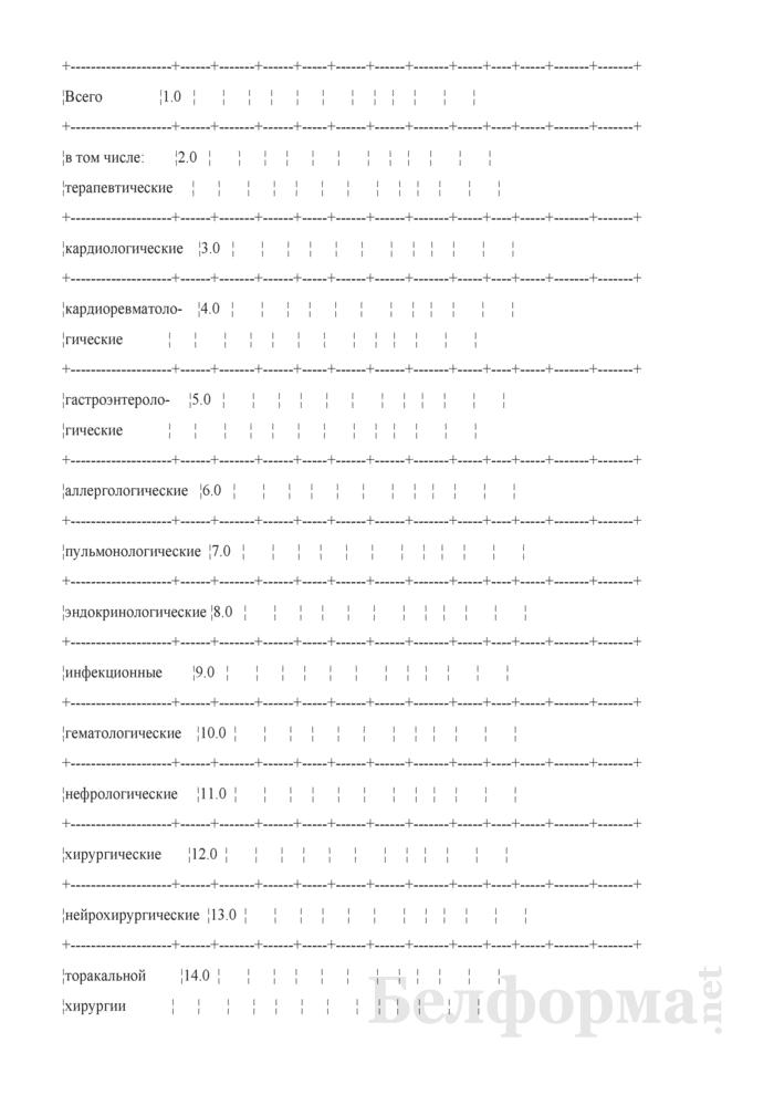 Отчет о выполнении территориальных программ государственных гарантий по обеспечению медицинским обслуживанием граждан в стационарах круглосуточного пребывания. Форма № 4 ТПГГ (профиль). Страница 13