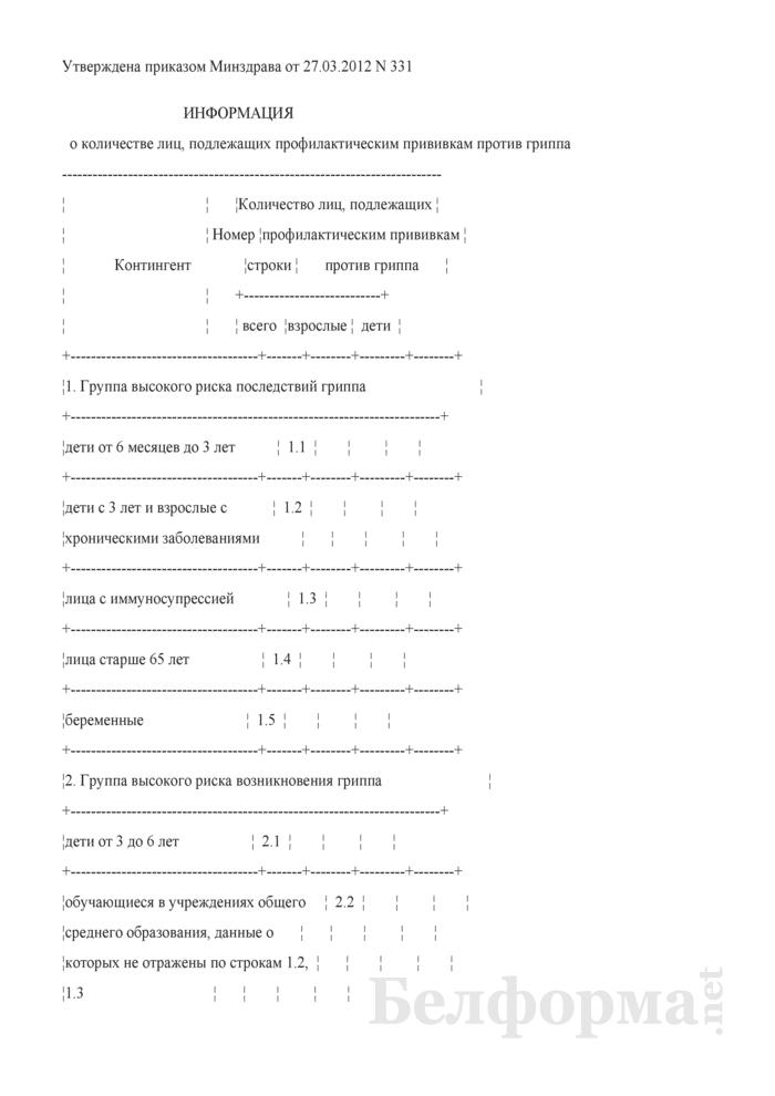 Информация о количестве лиц, подлежащих профилактическим прививкам против гриппа. Страница 1