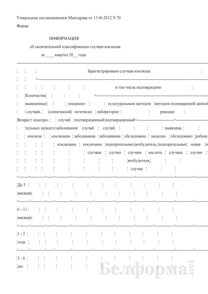 Информация об окончательной классификации случаев коклюша. Страница 1