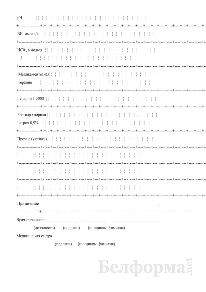 Контрольная карта процедур гемодиафильтрации у детей. Форма № 9-гмд/у-08. Страница 5