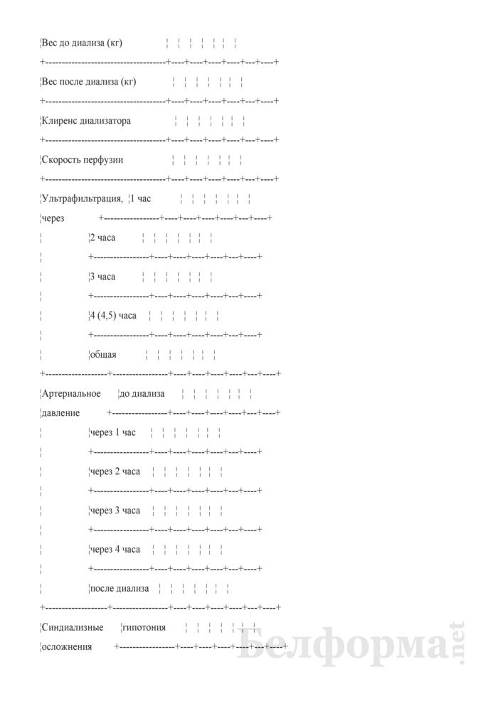 Контрольная карта процедур гемодиализа. Форма № 1-гмд/у-07. Страница 2