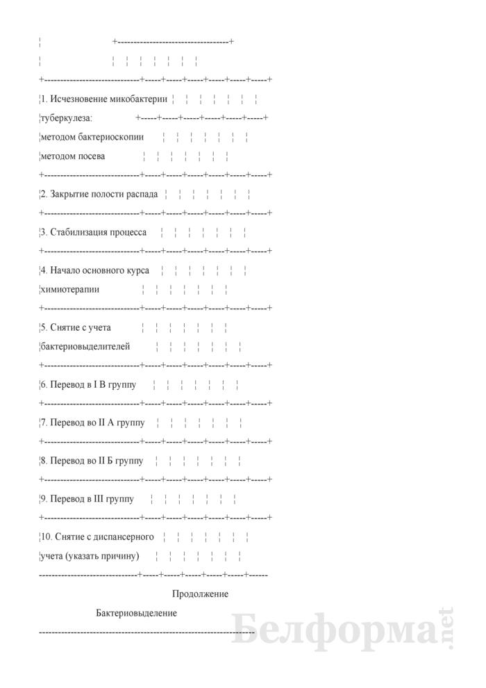 Медицинская карта амбулаторного больного туберкулезом. Форма № 03-2туб/у. Страница 6