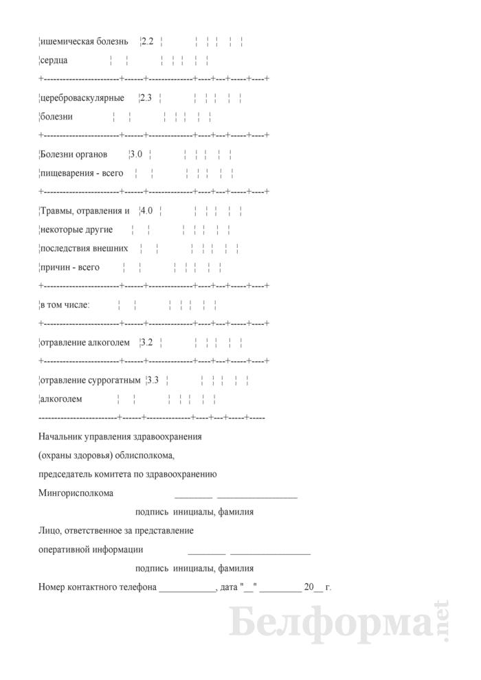 Оперативная информация о первичной заболеваемости у лиц в возрасте 18 лет и старше. Форма № 1 опер (забол). Страница 2