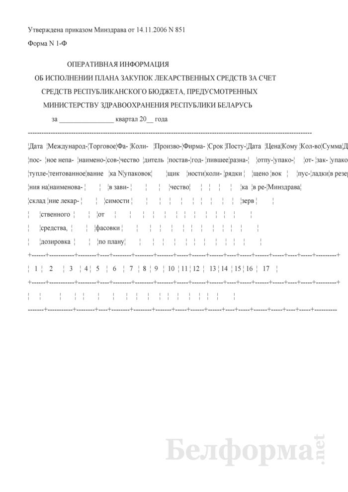 Оперативная информация об исполнении плана закупок лекарственных средств за счет средств республиканского бюджета, предусмотренных Министерству здравоохранения Республики Беларусь. Форма № 1-Ф. Страница 1