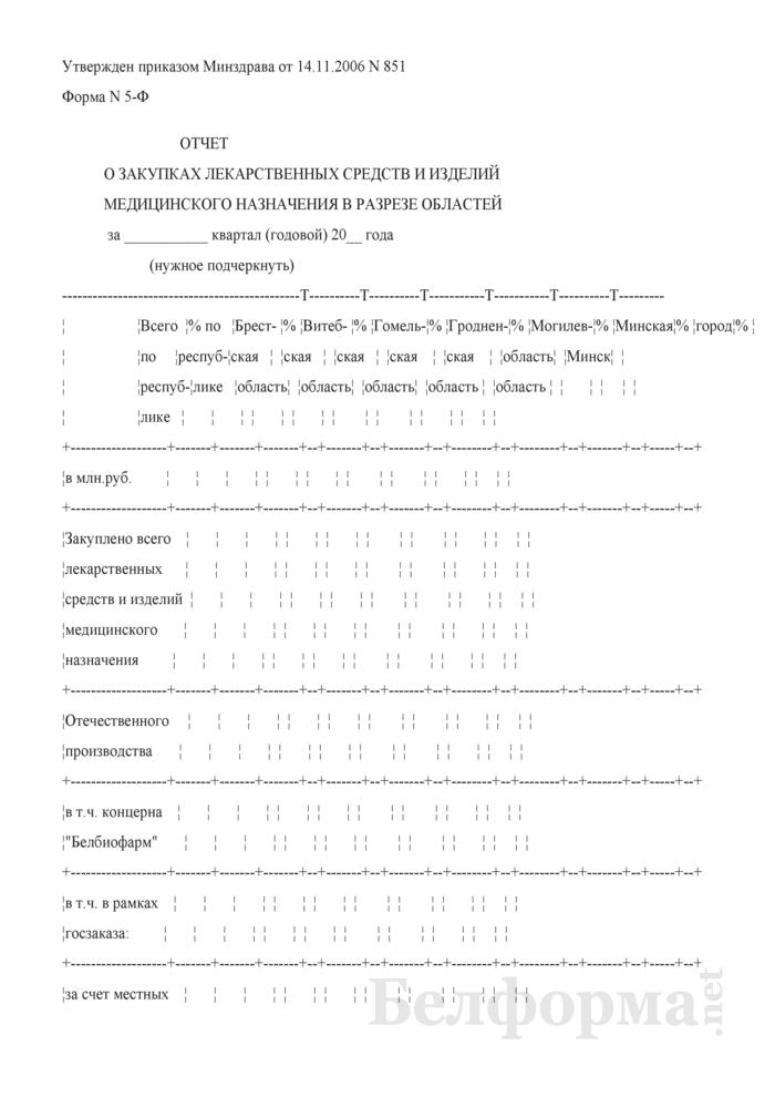 Отчет о закупках лекарственных средств и изделий медицинского назначения в разрезе областей. Форма № 5-Ф. Страница 1