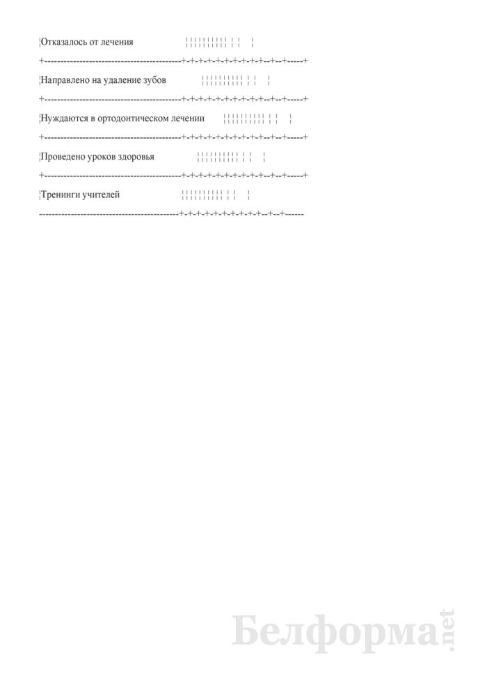 Паспорт стоматологического здоровья учащихся учреждения образования (Форма № 446-1/у-10). Страница 3