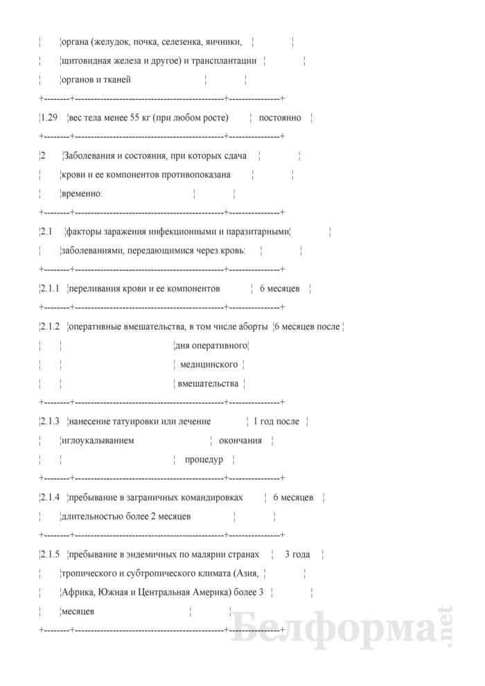 Перечень заболеваний и состояний, при которых сдача крови и ее компонентов противопоказана. Страница 6
