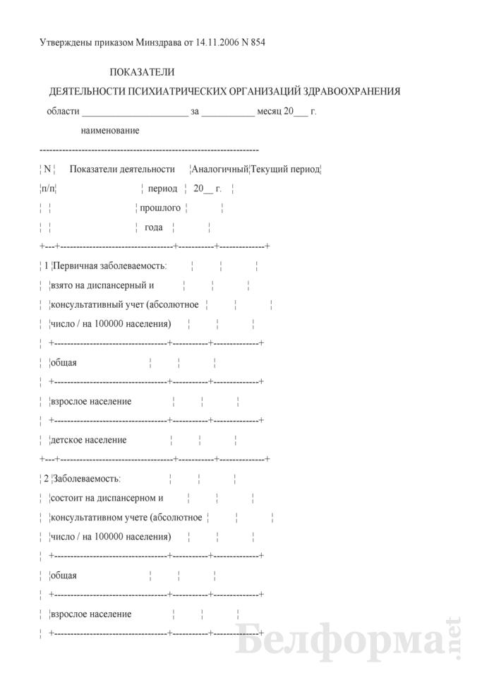 Показатели деятельности психиатрических организаций здравоохранения области за месяц. Страница 1