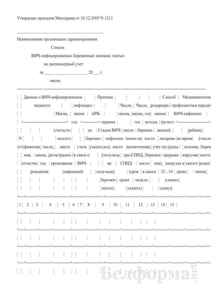 Список ВИЧ-инфицированных беременных женщин, взятых на диспансерный учет. Страница 1