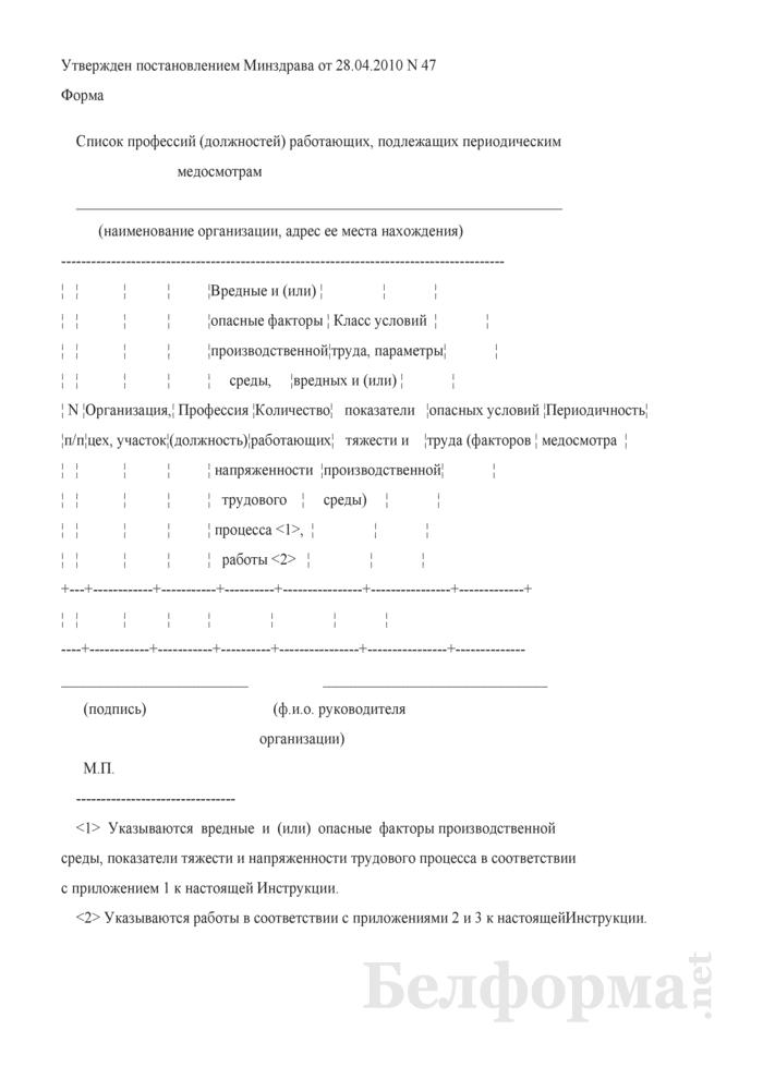 Список профессий (должностей) работающих, подлежащих периодическим медосмотрам. Страница 1