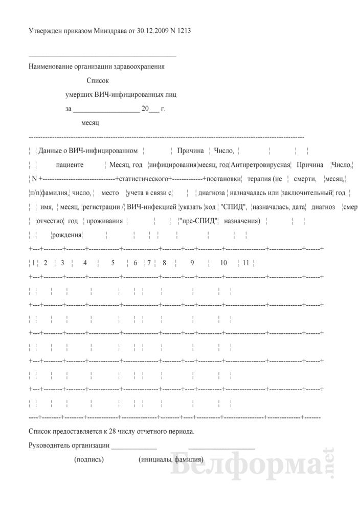 Список умерших ВИЧ-инфицированных лиц. Страница 1