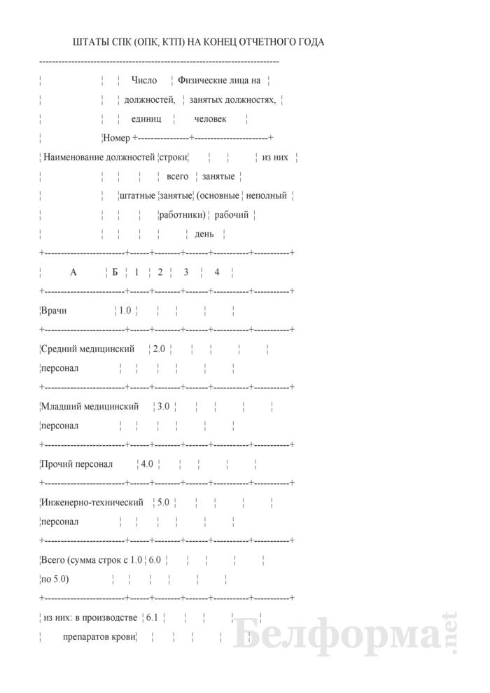 Сведения о производственной деятельности станции, отделения переливания крови (СПК, ОПК), кабинета трансфузиологической помощи (КТП) (годовая). Страница 5