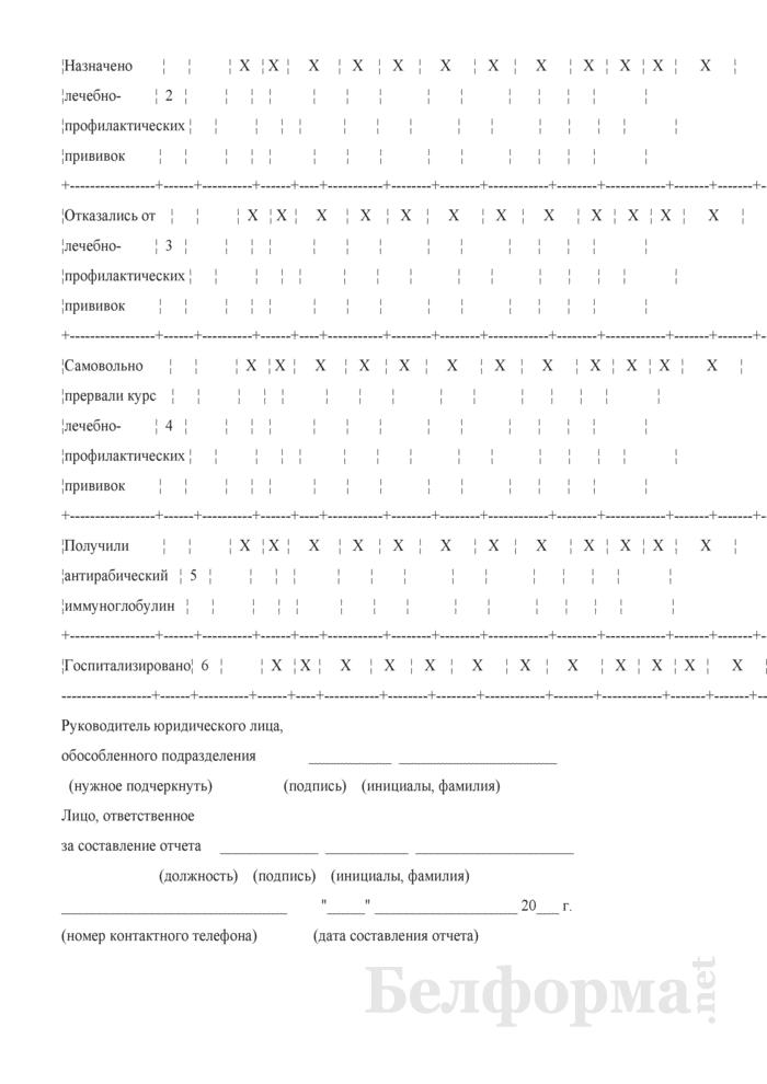 Сведения об оказании медицинской помощи лицам, имевшим контакт с больным или подозрительным на бешенство животным (полугодовая). Страница 3