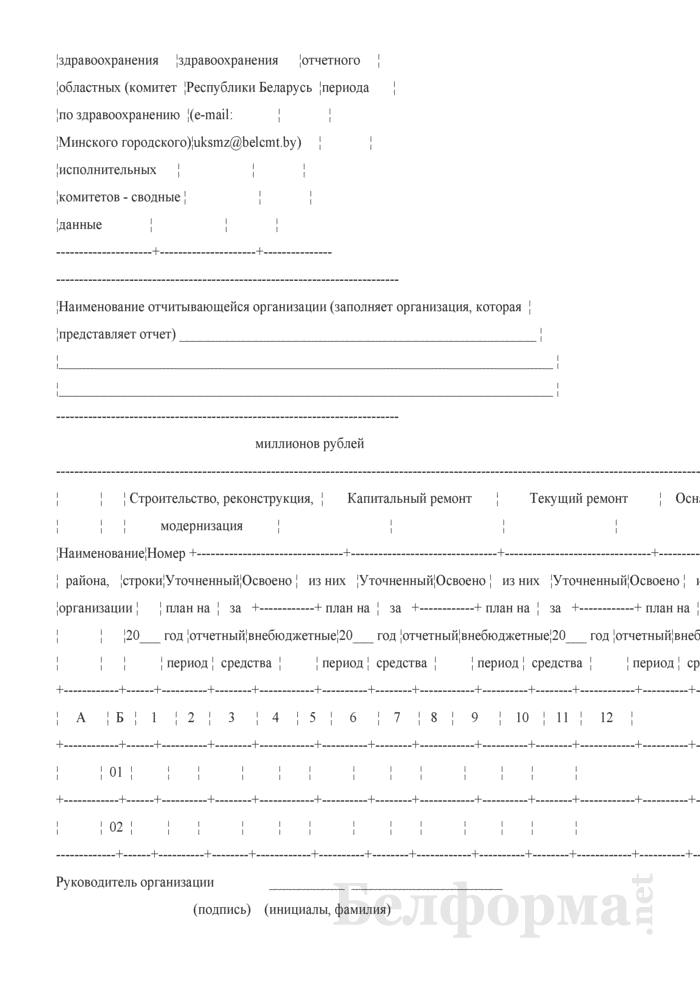 Сведения об укреплении материально-технической базы организаций здравоохранения (полугодовая). Страница 2