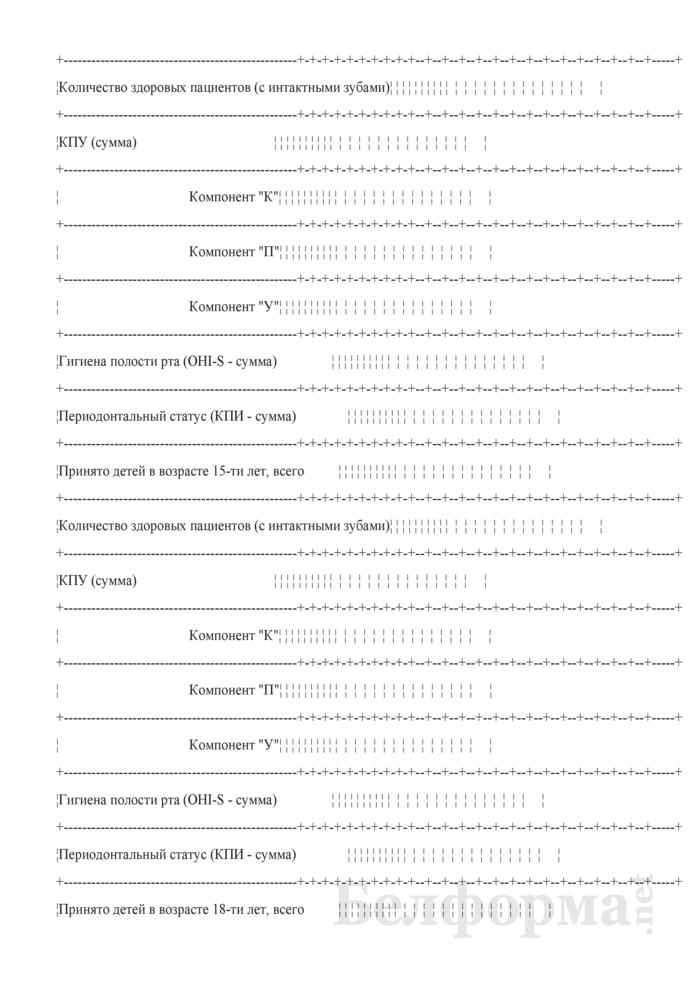 Сводные данные по стоматологическому здоровью пациентов при первичном обращении (Форма № 039-З/у-10). Страница 2
