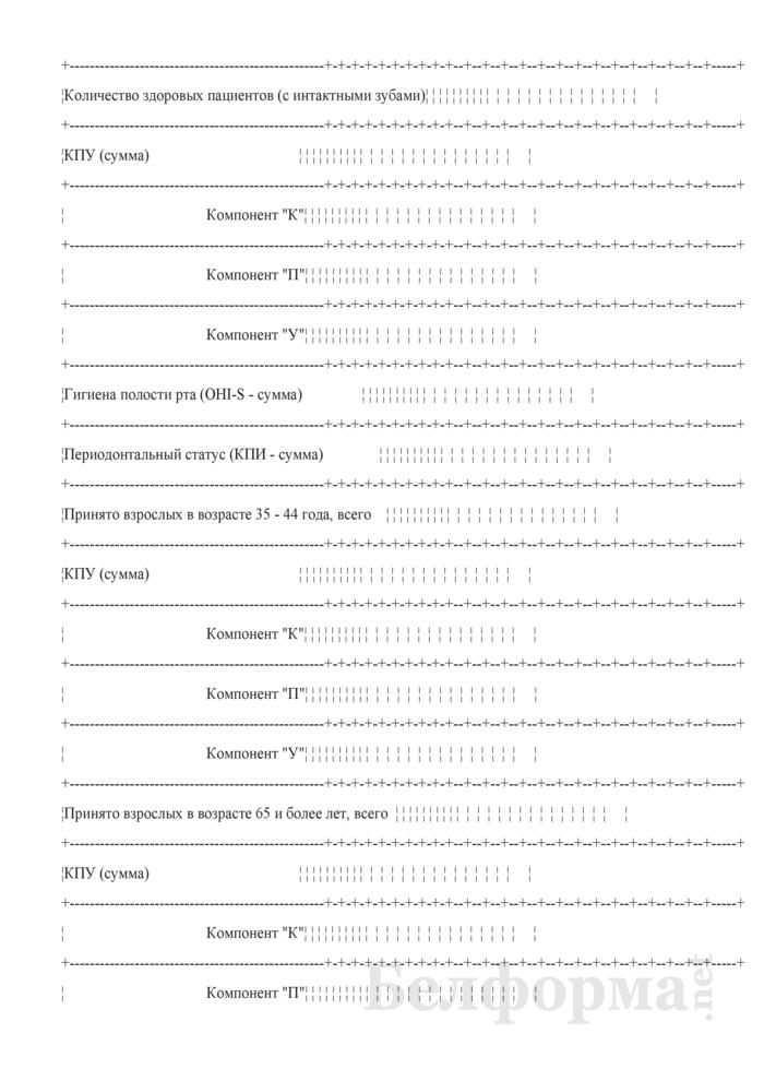 Сводные данные по стоматологическому здоровью пациентов при первичном обращении (Форма № 039-З/у-10). Страница 3