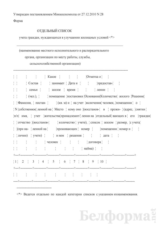 Отдельный список учета граждан, нуждающихся в улучшении жилищных условий. Страница 1