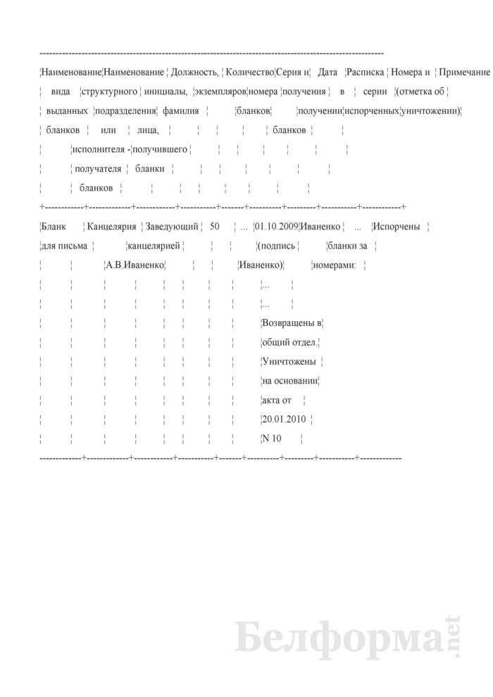 Форма и пример заполнения журнала регистрации выданных бланков документов с изображением Государственного герба Республики Беларусь. Страница 1