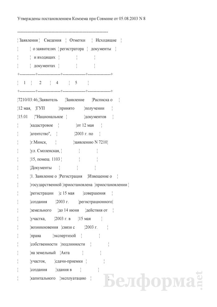 Форма листов книги журнала, в которые вносятся записи о регистрации заявлений, и пример их заполнения. Страница 1