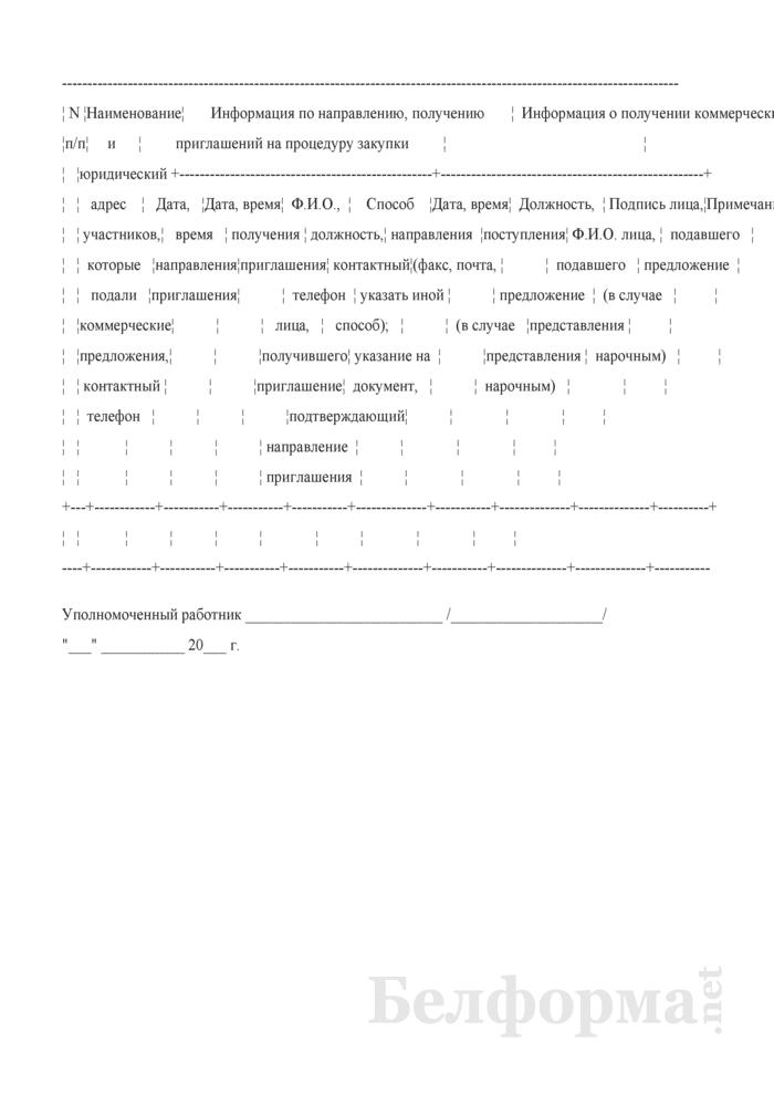 Примерная форма журнала регистрации поданных коммерческих предложений. Страница 1