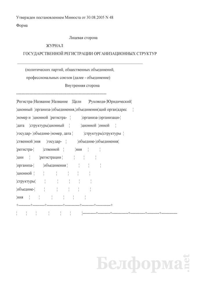 Журнал государственной регистрации организационных структур. Страница 1