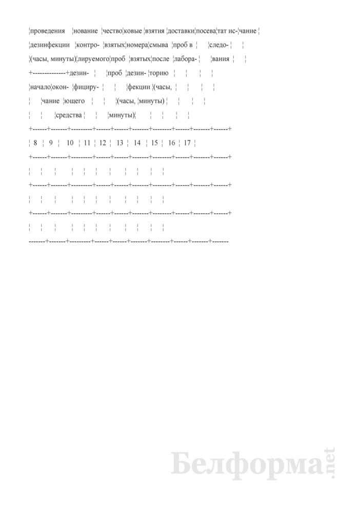Журнал регистрации лабораторного контроля качества очаговой дезинфекции. Форма № 327/у. Страница 2