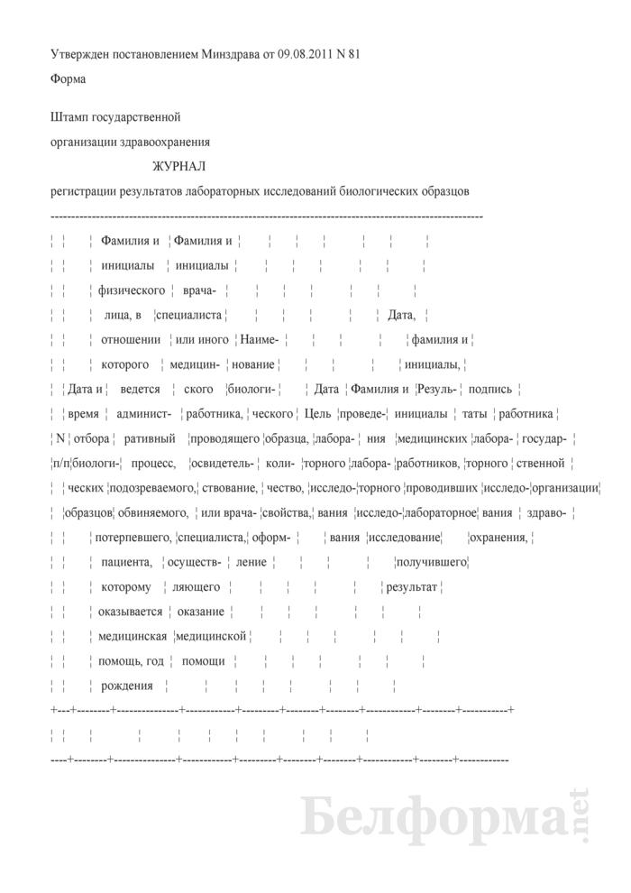 Журнал регистрации результатов лабораторных исследований биологических образцов. Страница 1