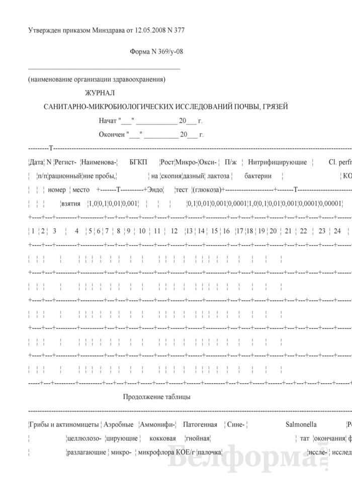 Журнал санитарно-микробиологических исследований почвы, грязей. Форма № 369/у-08. Страница 1