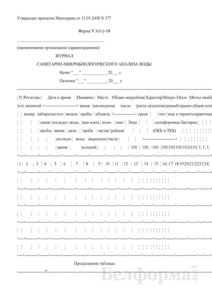 Журнал санитарно-микробиологического анализа воды. Форма № 363/у-08. Страница 1
