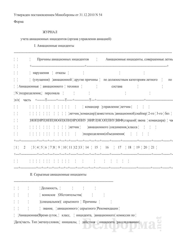 Журнал учета авиационных инцидентов (органа управления авиацией). Страница 1