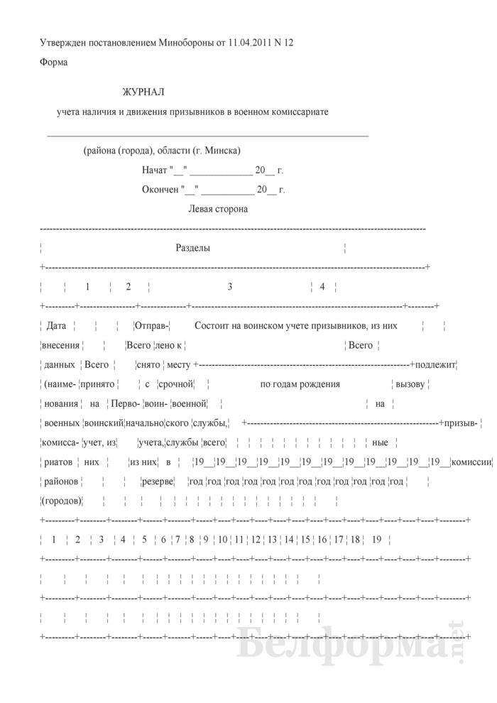 Журнал учета наличия и движения призывников в военном комиссариате. Страница 1