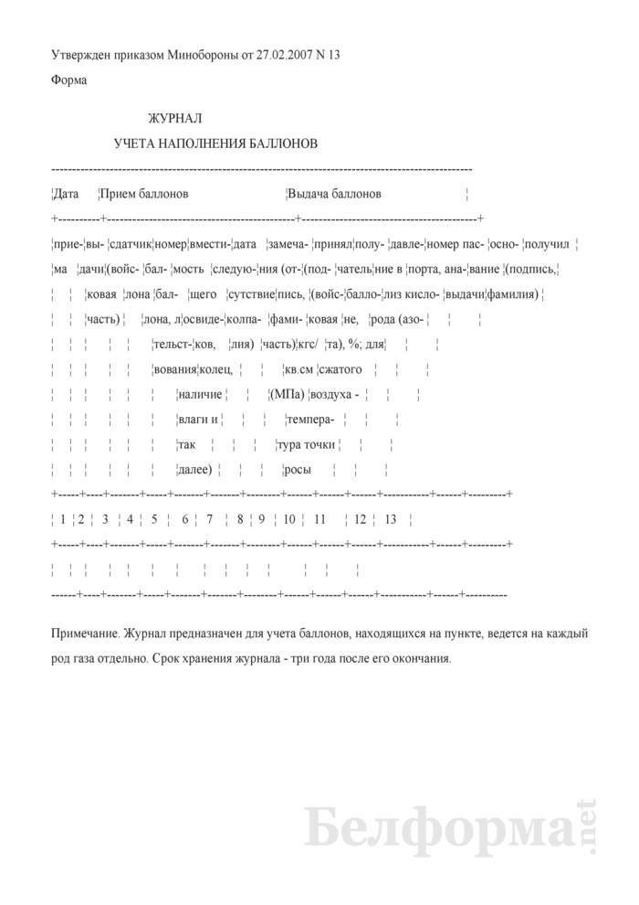 Журнал учета наполнения баллонов. Страница 1