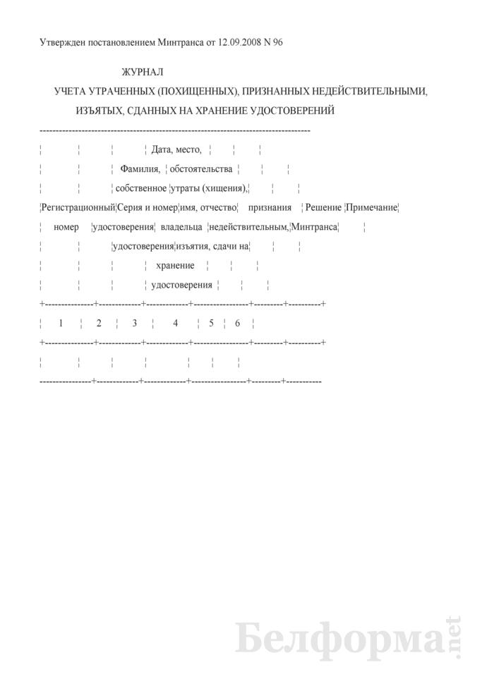 Журнал учета утраченных (похищенных), признанных недействительными, изъятых, сданных на хранение удостоверений личности моряка Республики Беларусь. Страница 1