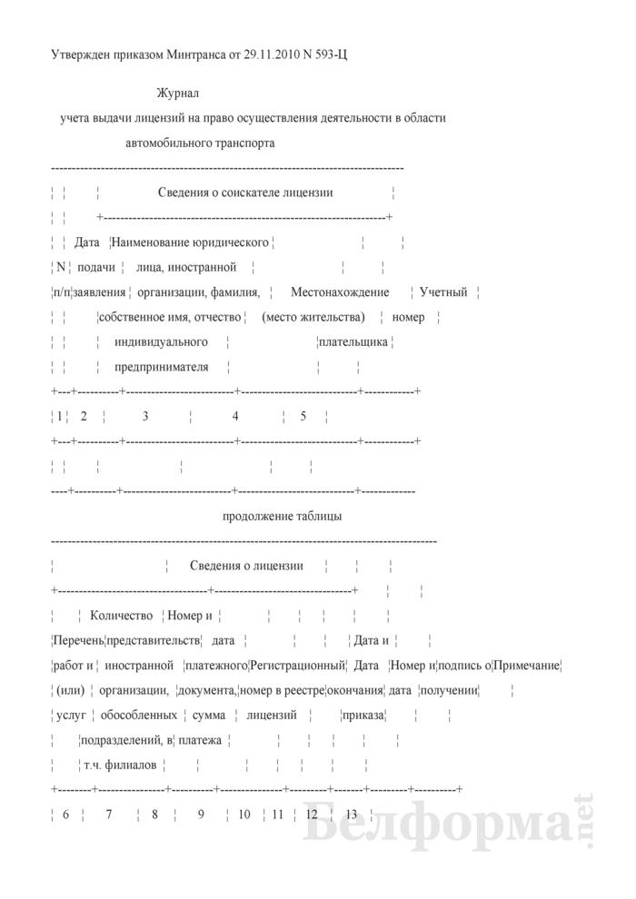 Журнал учета выдачи лицензий на право осуществления деятельности в области автомобильного транспорта. Страница 1